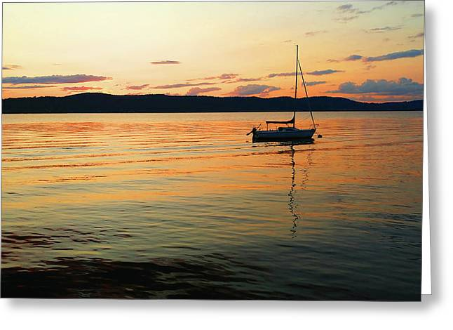 Hudson River From Irvington In Westchester County Greeting Card
