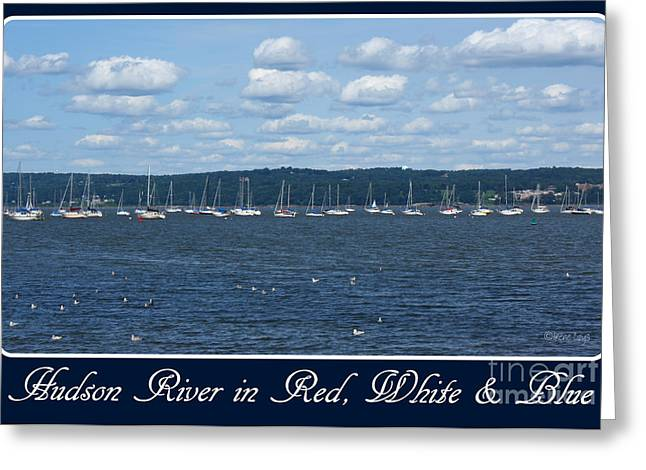 Hudson River In Red White Blue Greeting Card by Irene Czys
