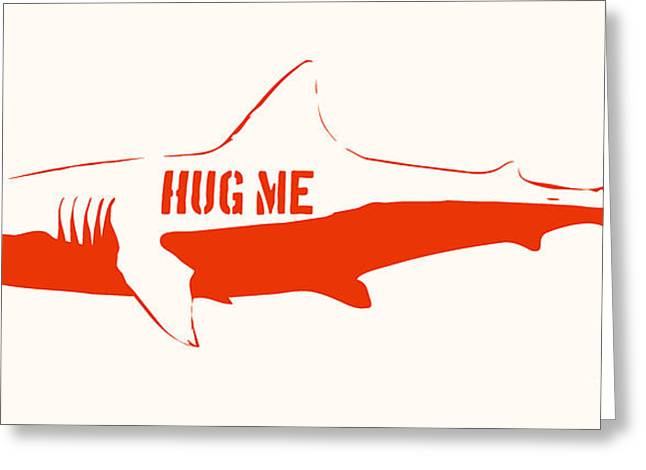 Stencil Spray Greeting Cards - Hug Me Shark Greeting Card by Pixel Chimp