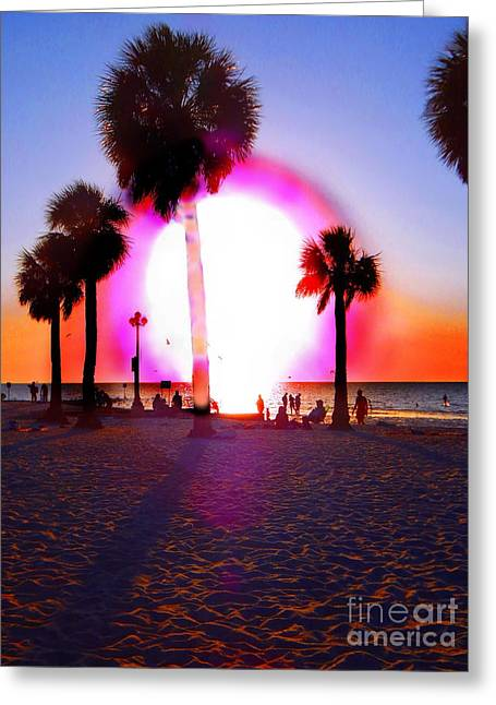 Huge Sun Pine Island Sunset  Greeting Card by Expressionistart studio Priscilla Batzell