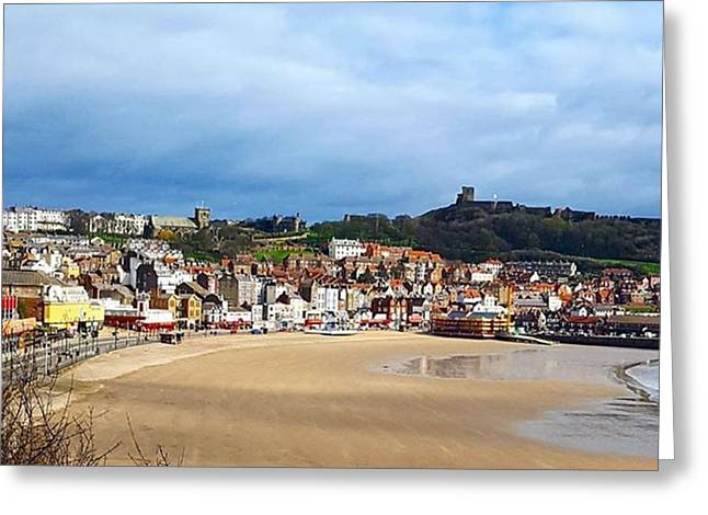 Huge Beach, Cute Town And A Castle Greeting Card by Dante Harker