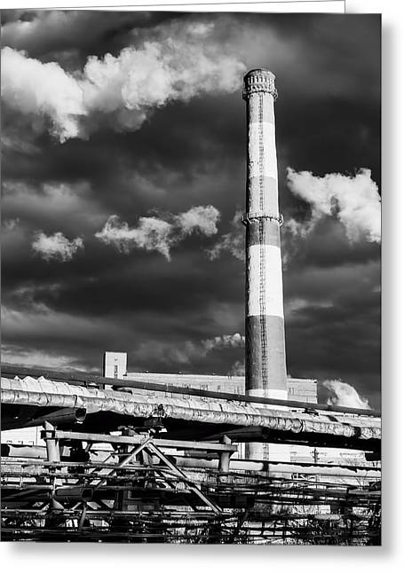 Huge Industrial Chimney And Smoke In Black And White Greeting Card