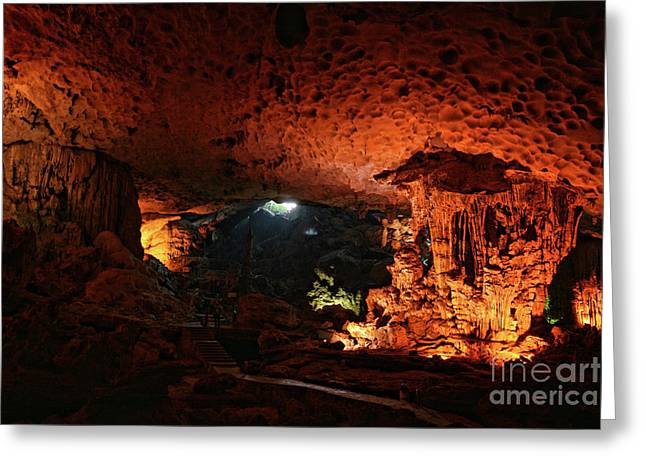 Huge Limestone Cave Vietnam Greeting Card by Chuck Kuhn