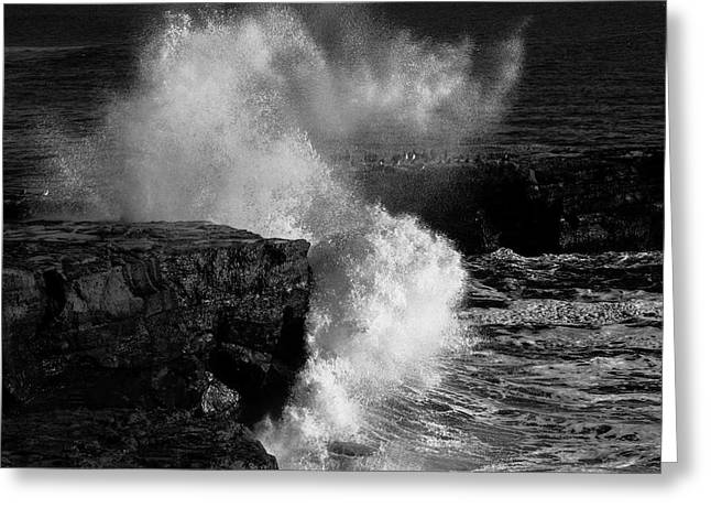 Huge Wave Breaking On The Rocks Greeting Card