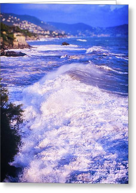 Greeting Card featuring the photograph Huge Wave In Ligurian Sea by Silvia Ganora