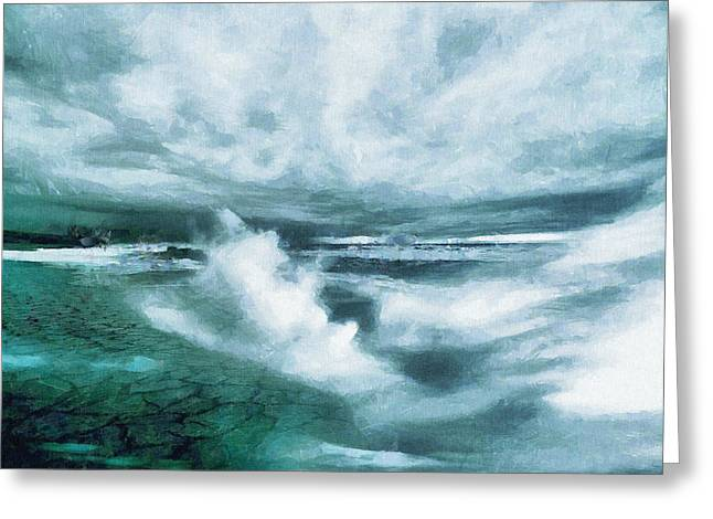 Huge Waves And Stormy Sea Art Painting Greeting Card