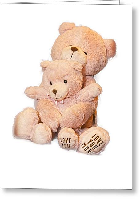 Hugging Bears Cut Out Greeting Card by Linda Phelps