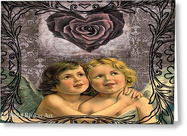 Hugging Cherubs Greeting Card by Diana Riukas