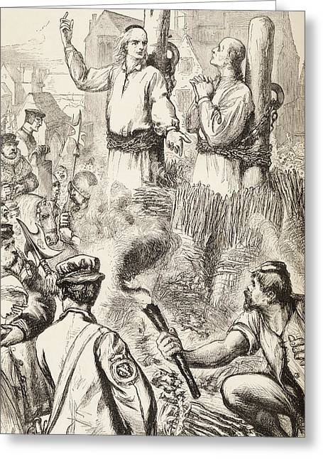 Hugh Latimer And Nicholas Ridley Being Greeting Card by Vintage Design Pics