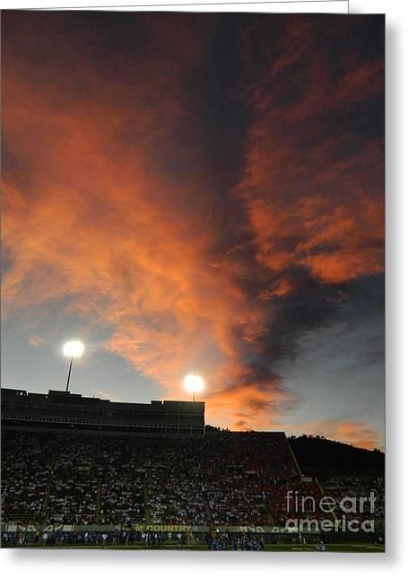 Hughes Stadium Sunset Greeting Card by Sara  Mayer
