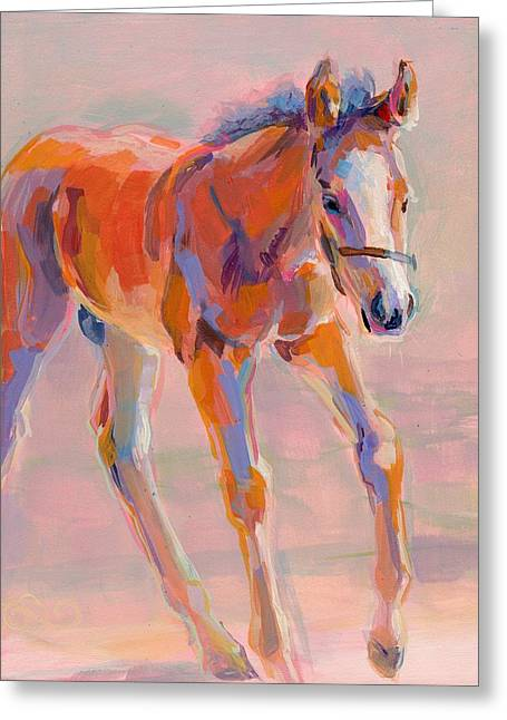 Horse Racing Paintings Greeting Cards - Hugo Greeting Card by Kimberly Santini