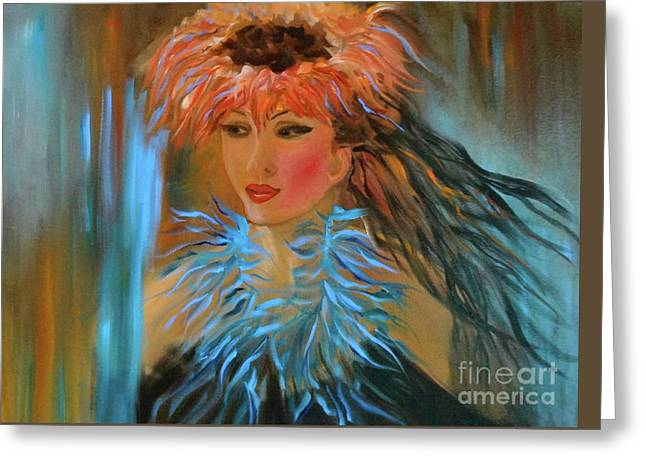 Hula In Turquoise Greeting Card by Jenny Lee