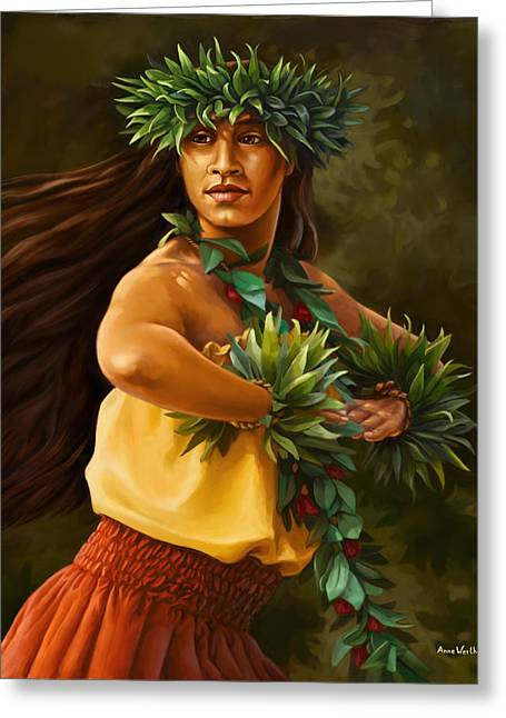 Hula Dancer Greeting Card by Anne Wertheim