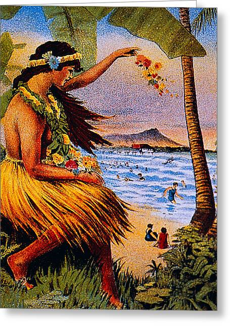Sunbathing Paintings Greeting Cards - Hula Flower Girl 1915 Greeting Card by Hawaiian Legacy Archive - Printscapes