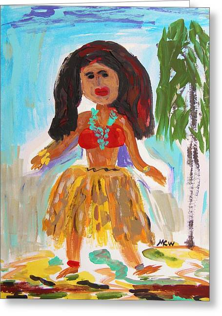 Mcw Greeting Cards - Hula Girl Greeting Card by Mary Carol Williams
