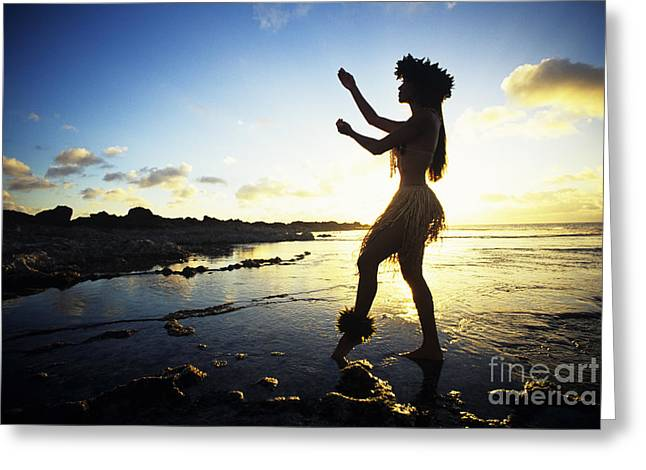 Hula Silhouette Greeting Card by Vince Cavataio - Printscapes