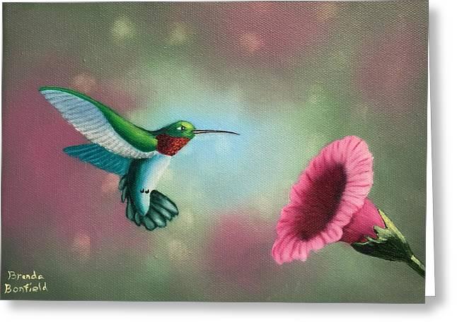 Humming Bird Feeding Greeting Card by Brenda Bonfield