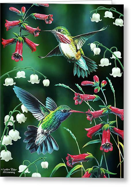 Home Greeting Cards - Humming Birds 2 Greeting Card by JQ Licensing