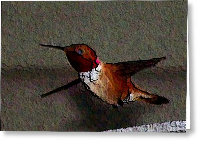 Greeting Card featuring the photograph Hummingbird 2 - Embossed by Erica Hanel