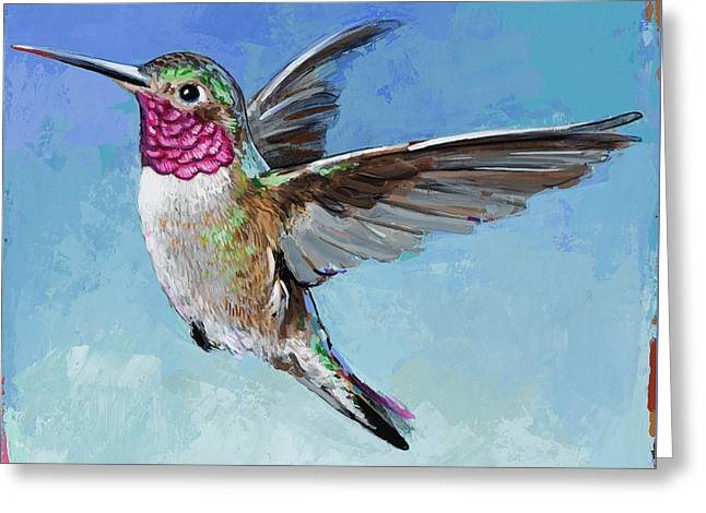 Greeting Card featuring the painting Hummingbird #6 by David Palmer