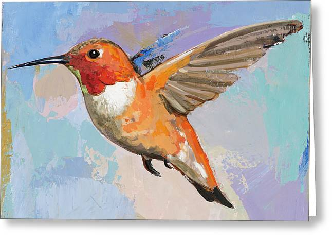 Greeting Card featuring the painting Hummingbird #7 by David Palmer
