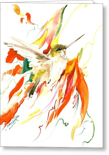 Hummingbird And Flame Colored Flowers Greeting Card by Suren Nersisyan