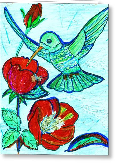 Hummingbird And His Sippie-cup Greeting Card