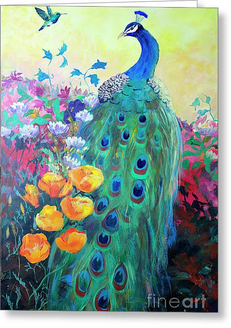 Greeting Card featuring the painting Hummingbird And Peacock by Robin Maria Pedrero