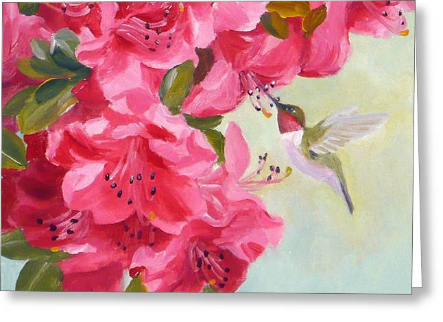 Hummingbird And Pink Azaleas Greeting Card by Janet  Zeh