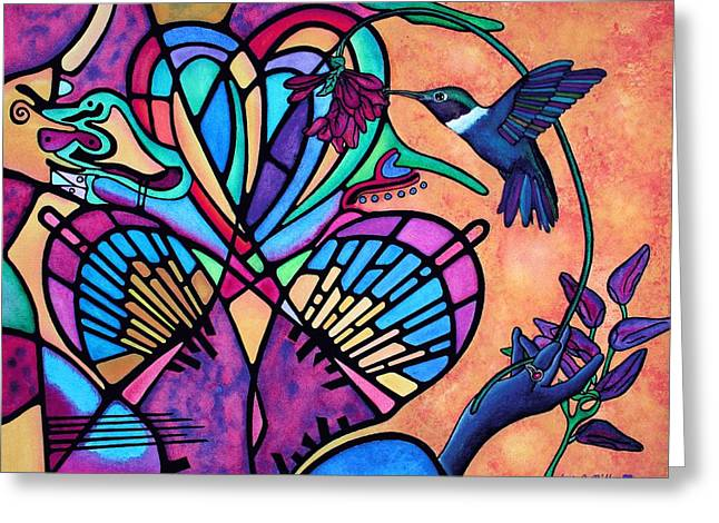 Hummingbird And Stained Glass Hearts Greeting Card by Lori Miller