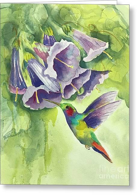 Hummingbird And Trumpets Greeting Card