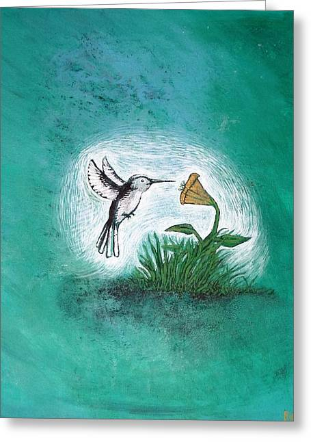 Greeting Card featuring the painting Hummingbird by Antonio Romero