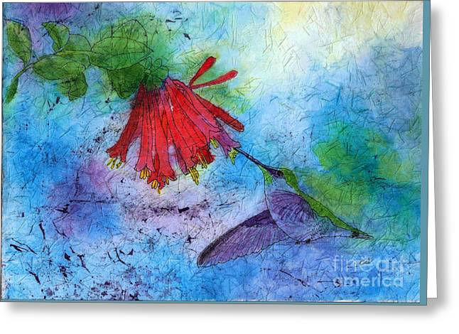 Hummingbird Batik Watercolor Greeting Card