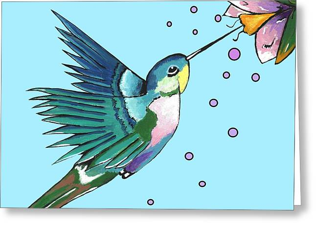 Hummingbird Blue Greeting Card
