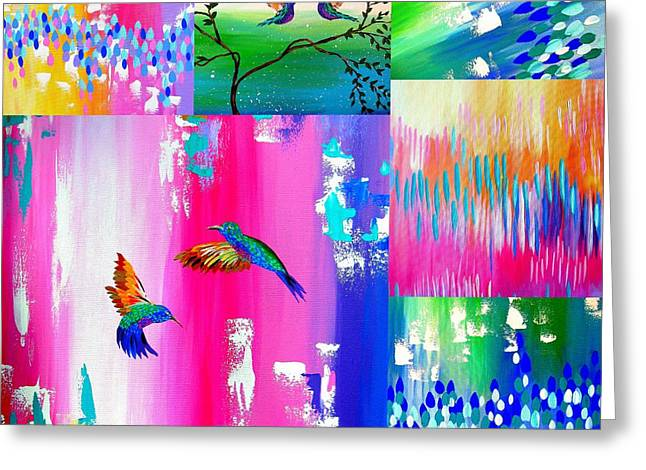 Hummingbird Collage Greeting Card by Cathy Jacobs