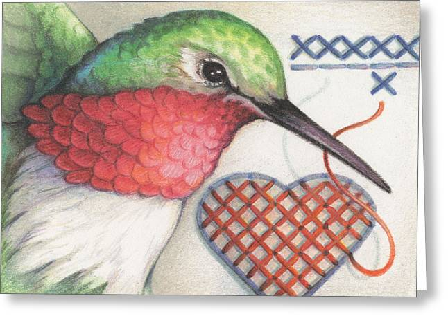 Hummingbird Handiwork Greeting Card by Amy S Turner