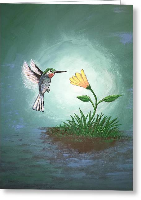 Greeting Card featuring the painting Hummingbird II by Antonio Romero