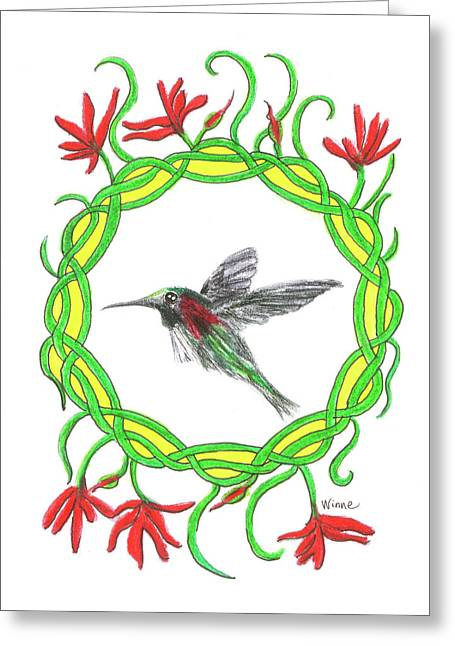 Greeting Card featuring the painting Hummingbird In Knots by Lise Winne