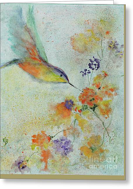Greeting Card featuring the painting Hummingbird by Karen Fleschler
