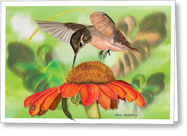 Greeting Card featuring the painting Hummingbird On Flower by Anne Beverley-Stamps