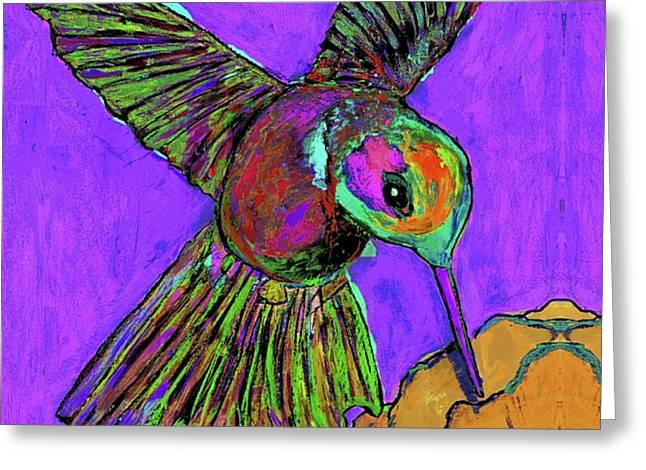 Hummingbird On Purple Greeting Card