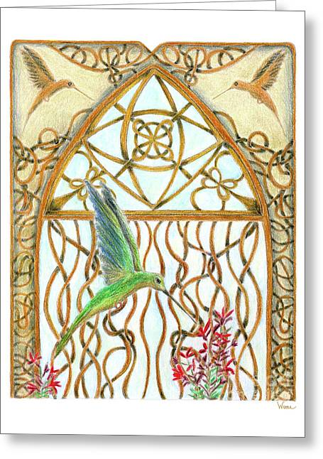 Greeting Card featuring the painting Hummingbird Sanctuary by Lise Winne