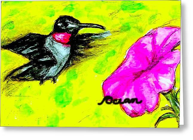 Hummingbird Sees Hot Pink Flower Greeting Card by Ocean