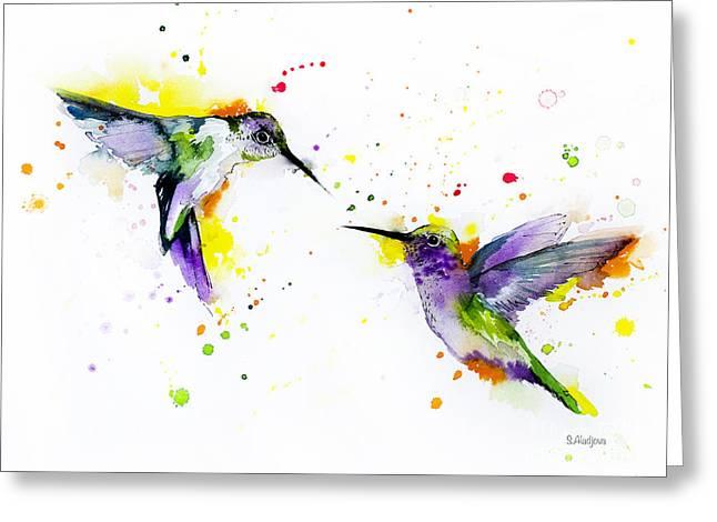 Hummingbird Greeting Card by Slavi Aladjova