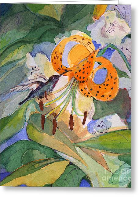 Greeting Card featuring the painting Hummingbird With Flowers by Nancy Watson