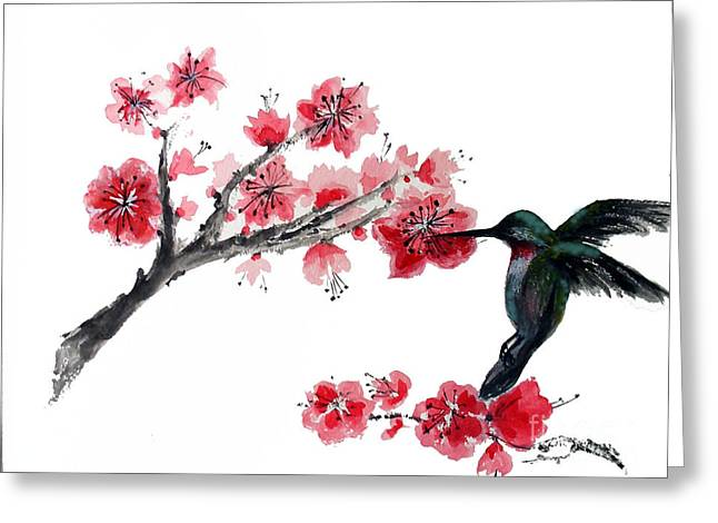 Hummingbird With Plum Blossom Greeting Card