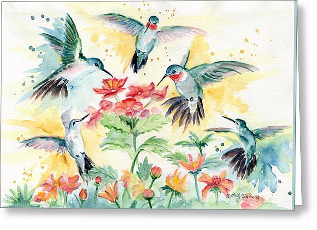 Hummingbirds Party Greeting Card