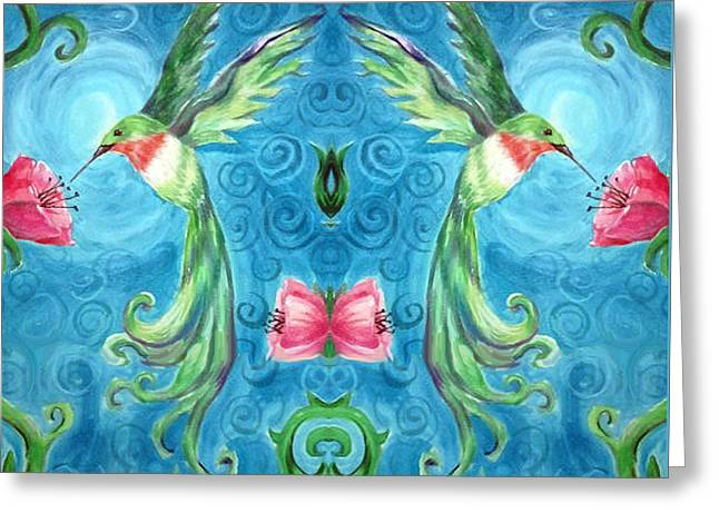 Hummingbirds Reflected  Greeting Card by Caitlin Lodato