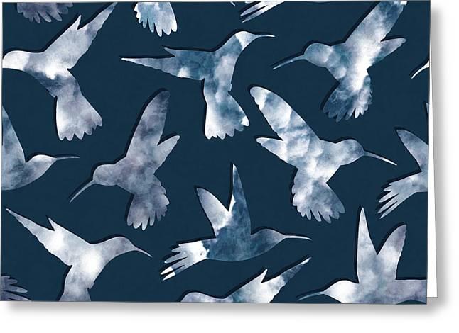 Hummingbirds Greeting Card by Varpu Kronholm