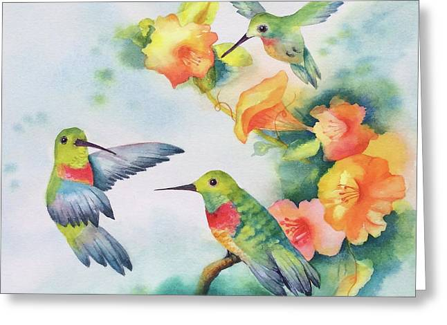 Hummingbirds With Orange Flowers Greeting Card